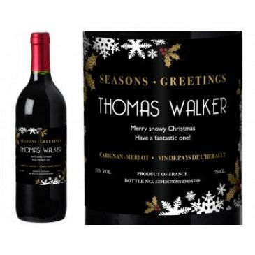 Snowflakes Personalised Red Wine